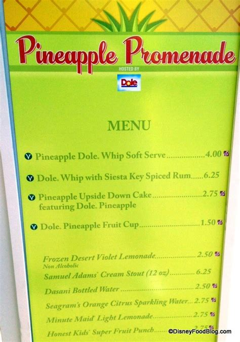 pineapple room menu review dole whip with spiced rum at the 2013 epcot flower and garden festival the disney food