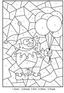 printable color by number coloring pages free printable jester colour by numbers