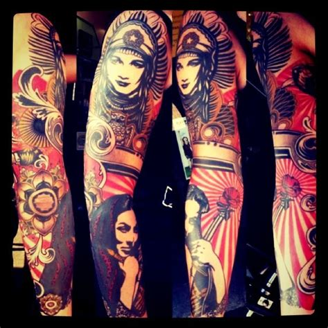 obey tattoo obey shepard sleeve tatoo design