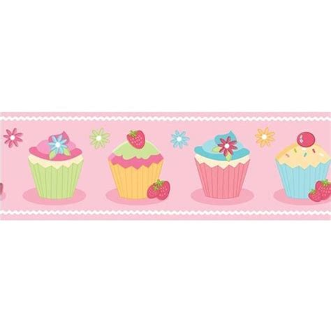 Buy fine decor cute cupcake childrens kids wallpaper border