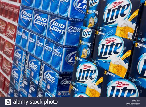 Bud Light Stock by Budweiser Bud Light And Miller Lite On Display At A