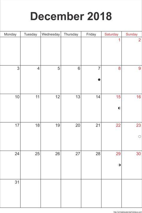 printable monthly calendar 2018 portrait december calendar 2018 template portrait printable