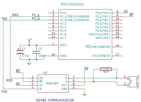 rs485 communication using max485 and msp430 launchpad