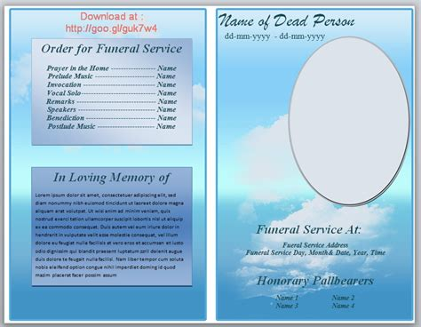 funeral programs templates free free funeral phlet template knowledge