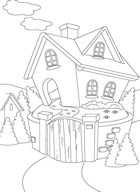cottage house coloring page color cottage kids coloring pages
