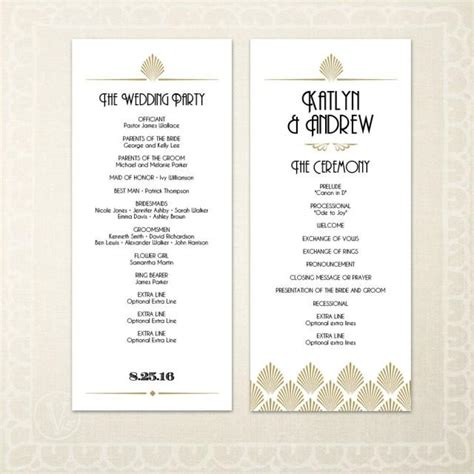 Deco Wedding Program Template Printable Art Deco Wedding Program Template Diy Wedding Program Editable Text Art Deco Shell