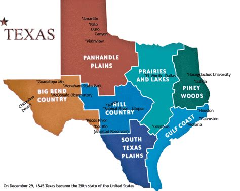 areas of texas map map of texas regions locations of pictures in texas gallery