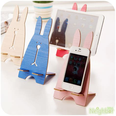 Wooden Smartphone Holder 1 wooden diy bunny phone holder table stand support for
