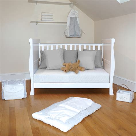 Cot Bed Sofa 4baby 3 In 1 Sleigh Cot Bed With Maxi Air Cool Mattress White Buy At Online4baby