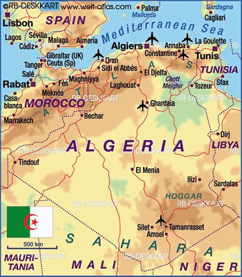 map of algeria cities algerien hauptstadt karte