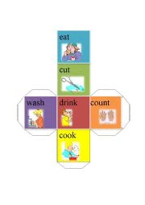 printable verb dice english worksheets action verb dice eat cut drink cook