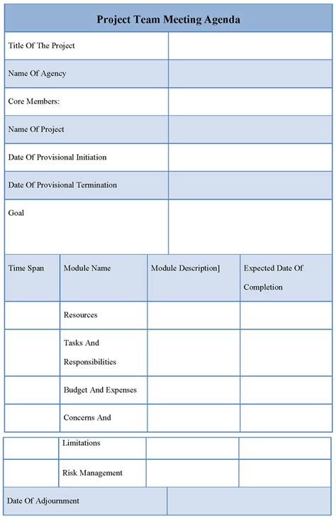 project team meeting agenda template 1 best agenda templates