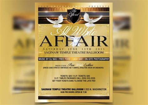 all white flyer template free all white affair flyer template