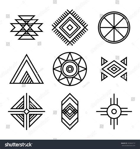 html pattern symbols native american indians tribal symbols set stock vector