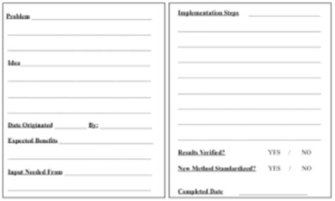 employee suggestion cards templates templates healthcare kaizen