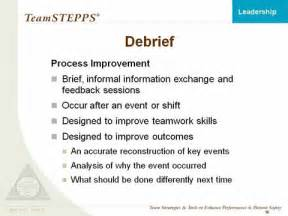 Debrief Template Psychology by Leadership Instructor Materials Agency For Healthcare