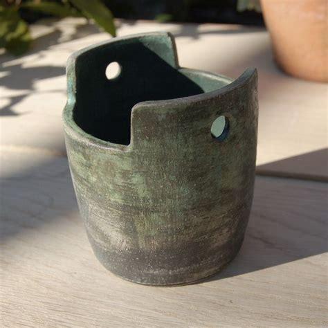 small hanging ceramic planter green pottery cactus pot