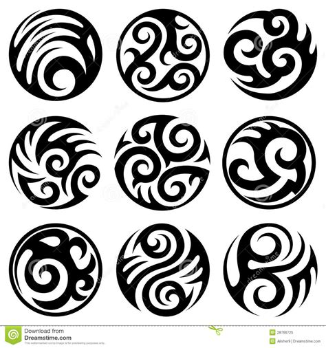 round tattoo designs black ink tribal tattoos designs