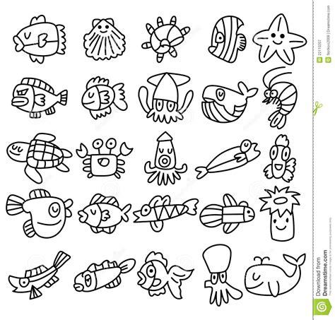 aquarium design drawing hand draw aquarium fish icons set stock vector