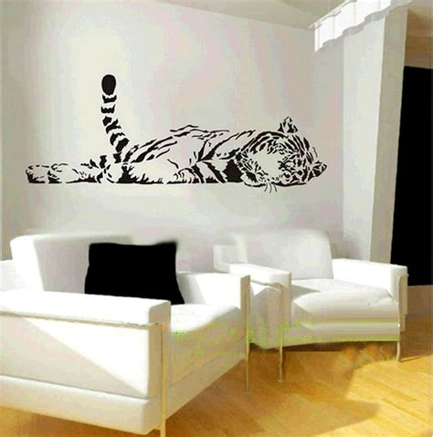 living room decals elephant wall decal animal wild zoo lying tail up tiger