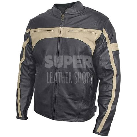 armored leather motorcycle jacket s armored stripes leather motorcycle jacket
