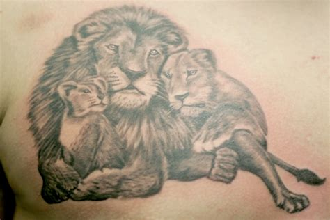 lion family tattoo design on back tattoobite com