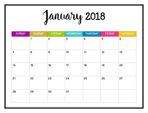 Printable Calendar Pages 2018
