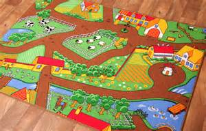 kids country farm life play mat colourful tractors rug