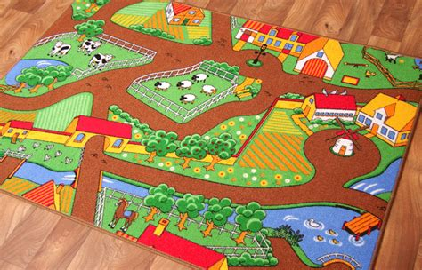Kid Play Rug Country Farm Play Mat Colourful Tractors Rug