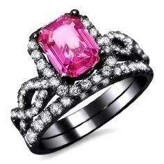 Golden Black Sapphire 22 40ct pink and black engagement rings on pink