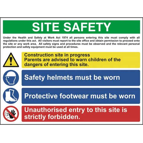 Large Clear Storage Containers - construction site safety sign with 1 warning 2 mandatory amp 1 prohibition messages ese direct
