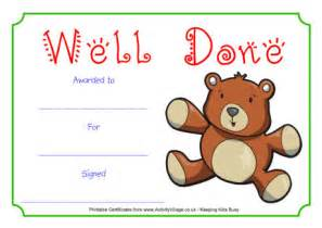 well done certificate template teddy well done certificate