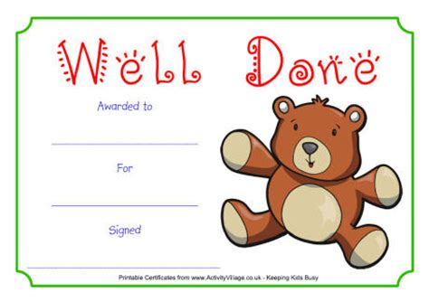 teddy well done certificate