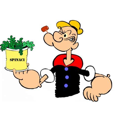 alimenti con ferro per bambini disegno di braccio di ferro con gli spinaci a colori per