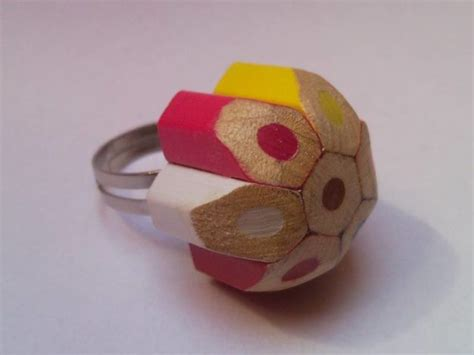 colored pencil ring coloured dotted spotted flower shaped crayon pencil ring