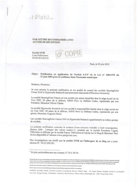 Exemple De Lettre Recommandée ecrire lettre recommand 233 e exemple entete lettre jaoloron