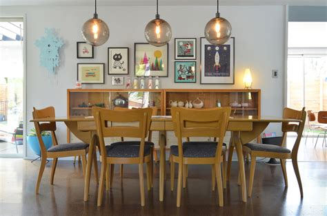 contemporary light fixtures Dining Room Midcentury with chairs credenza cuckoo clock