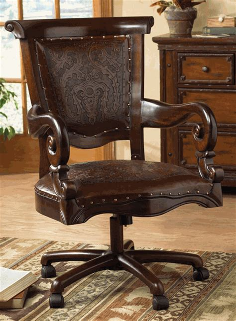 Western Desk Accessories Tooled Leather Western Desk Chair Overstock