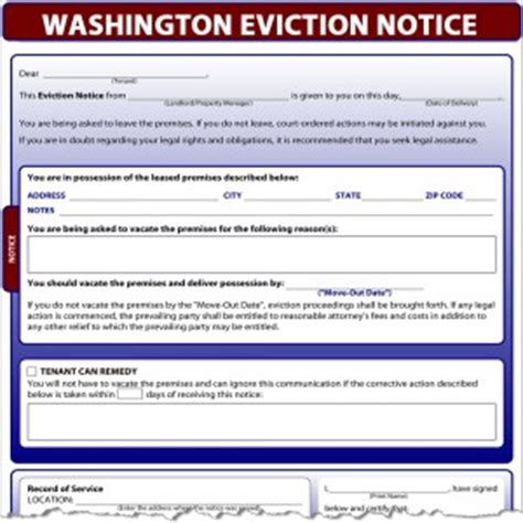 Eviction Notice Template Washington State Washington Eviction Notice