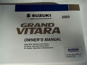 Suzuki Grand Vitara User Manual 2003 Suzuki Grand Vitara Owners Manual Parts Service Ebay