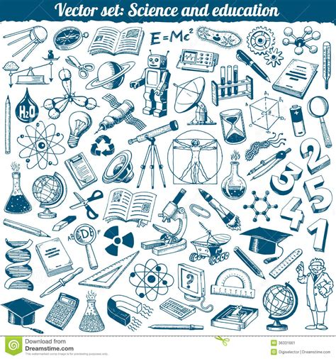 doodle icons free vector science and education doodles icons vector stock image
