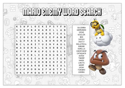 My Super Mario Boy: Super Mario Printable Word Searches