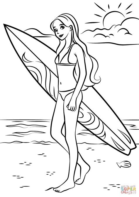 coloring pages surfer girl barbie surfer coloring page free printable coloring pages