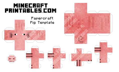 Minecraft Papercraft Templates - pig printable minecraft pig papercraft template
