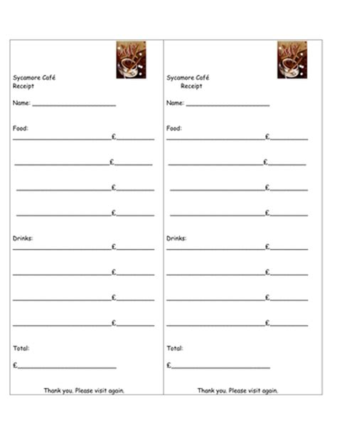 department store receipt template receipt template for play cafe by rehat teaching