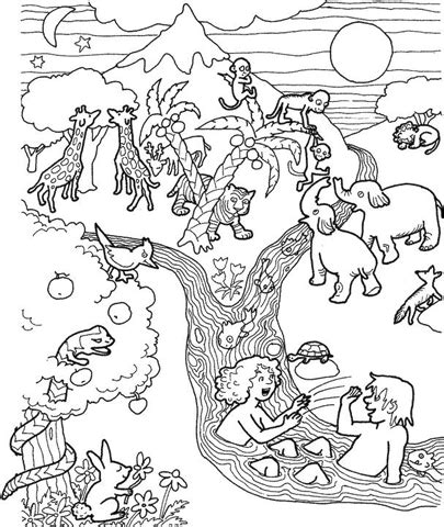 garden of eden printable activity sheets biblefactsplusii coloring page