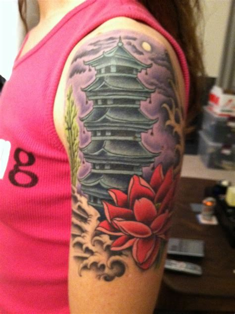 japanese temple tattoo designs pagoda view 2 tattoos