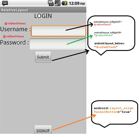 login page in relativelayout relative layout basics android exle