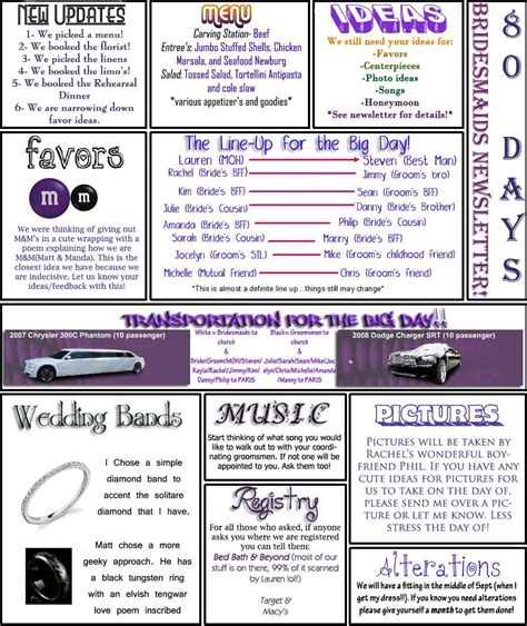 Bridesmaid Newsletter Template by Church Newsletters Ideas