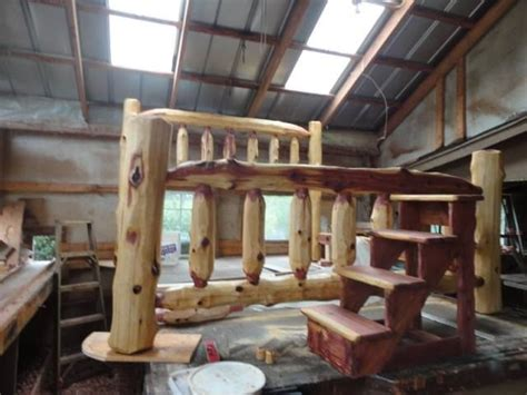 king size bed with steps 17 best images about handcrafted cedar log furniture
